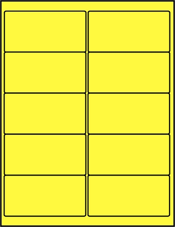 Canary yellow dayglo fluorescent 4 x 2 labels