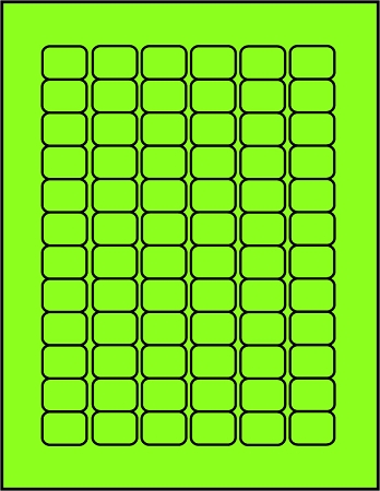 Green fluorescent dayglo label sheets 72 up