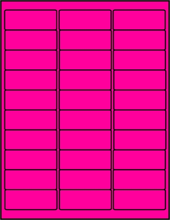Pink Fluorescent dayglo labels 30 up P2610