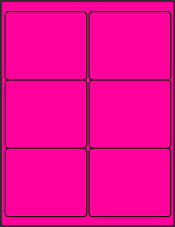 Pink dayglo fluorescent 4 x 3.33 labels P4030